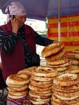 Nan (bread) seller at the Osh Bazaar in Bishkek