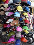 A shop selling motorcycle helmets in Saigon