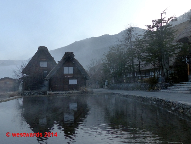 Morning mists lifting over Shirakawa-go