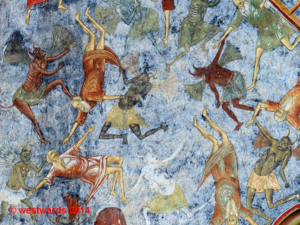 Fresco detail (devils) at the Monastery of Sucevita, UNESCO World Heritage