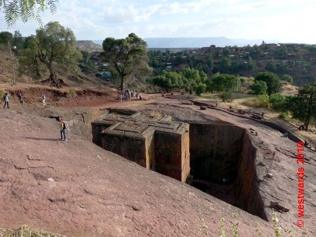 The rock church of Bet Giyorgis in Lalibela, Ethiopia