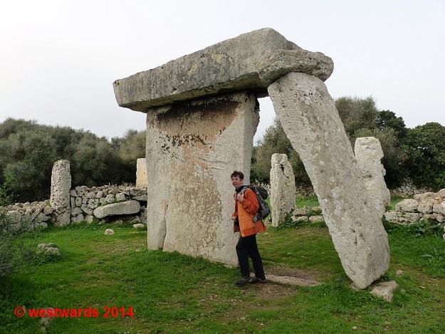 Taula stone in the prehistoric Talati de Dalt excavation, Talaiot culture, Menorca