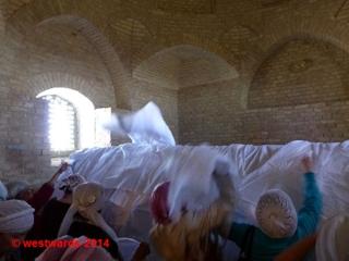 Pilgrims in the mausoleum of Aristanbab